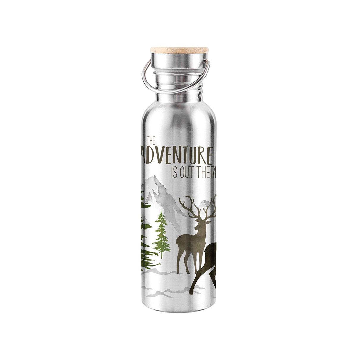 Adventure Deer white Steel Bottle 0,75