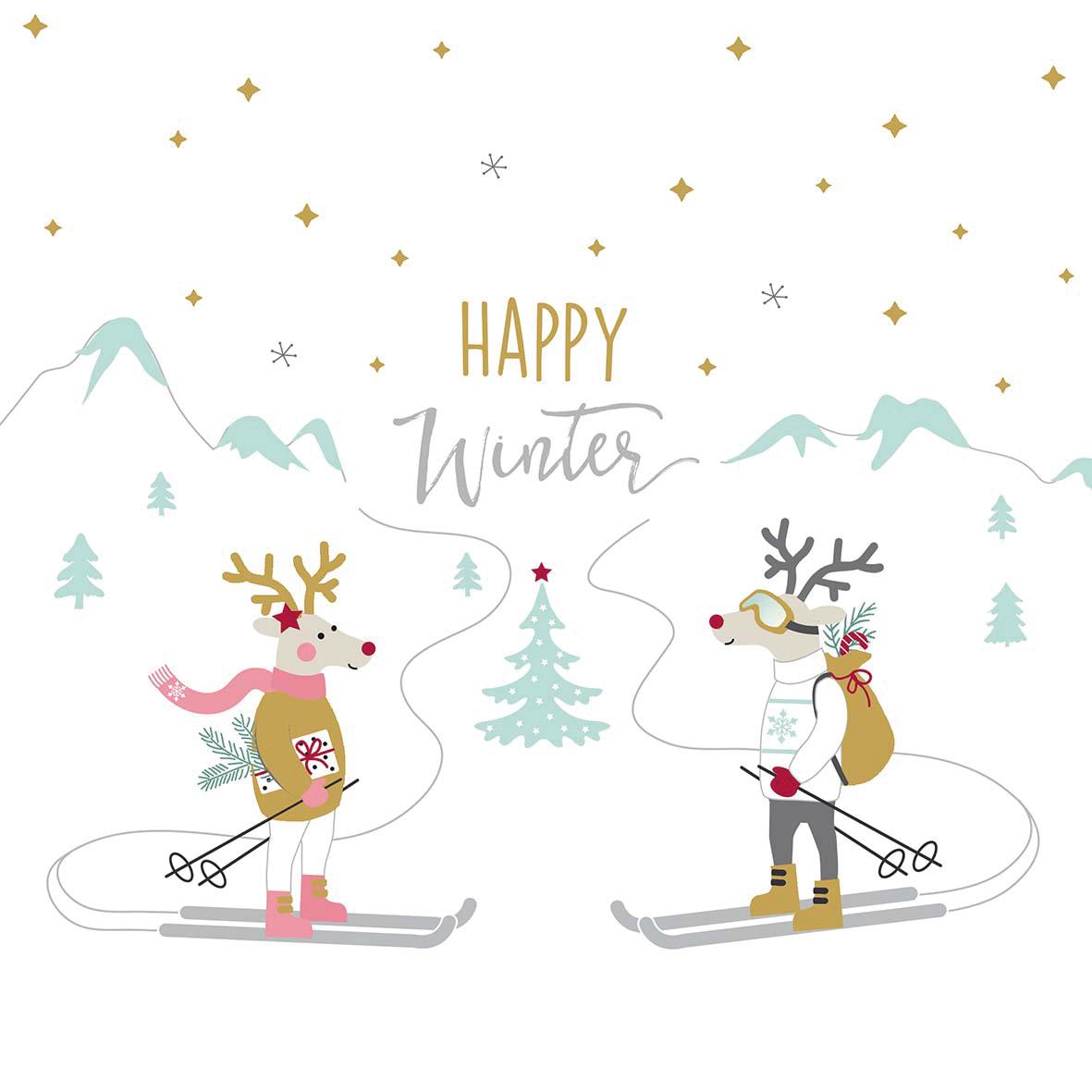 Skiing Deers Napkin 33x33
