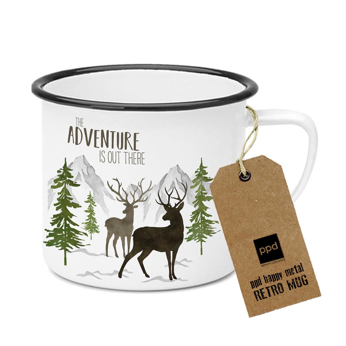 Adventure Deer white Happy Metal Mug