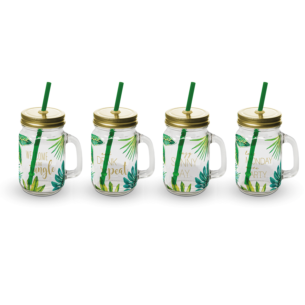 Party Tumbler Glass Set of 4 Jungle gold
