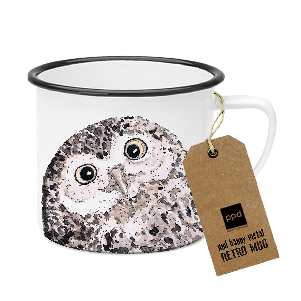 Owl Happy Metal Mug
