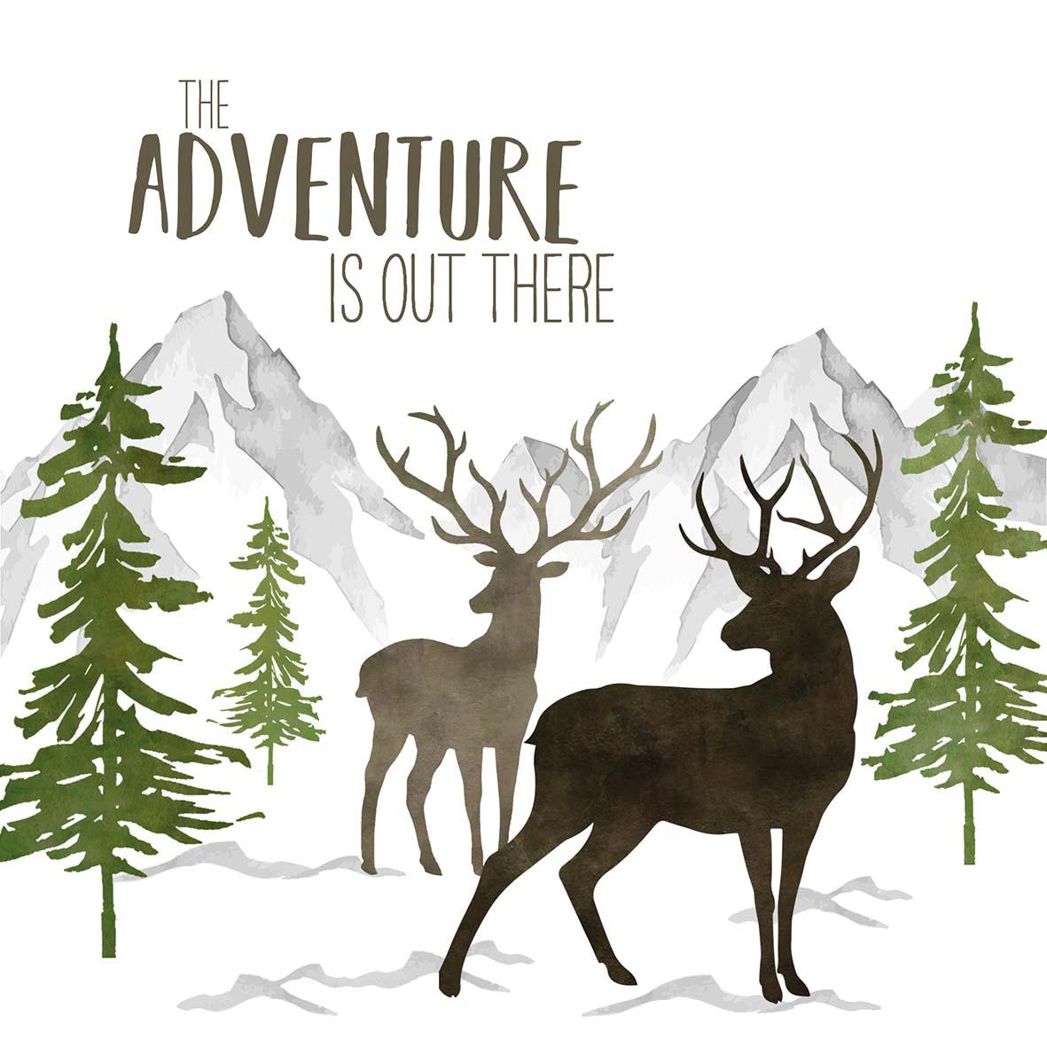 Adventure Deer white Napkin 33x33
