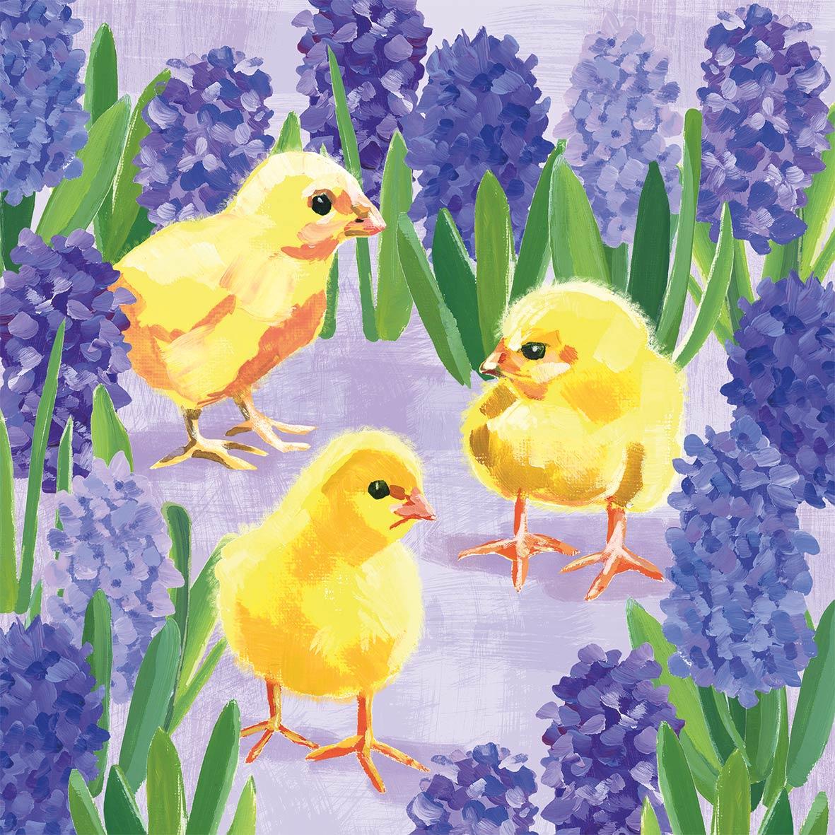 Chicks in Hyacinth Napkin 33x33