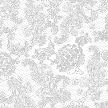 Lace Royal pearl silver 33x33 cm