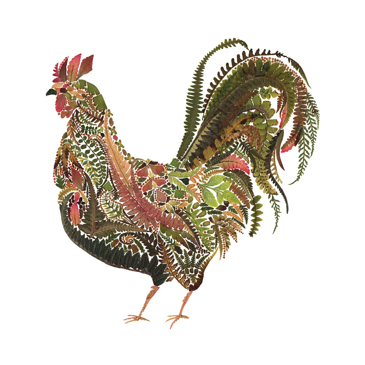 Green Rooster Napkin 33x33