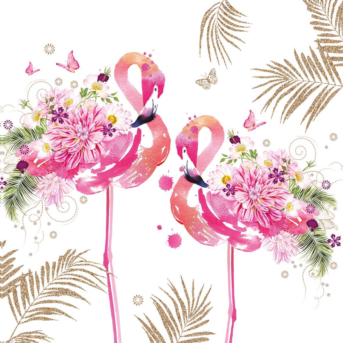 Floral Flamingos 33x33 cm