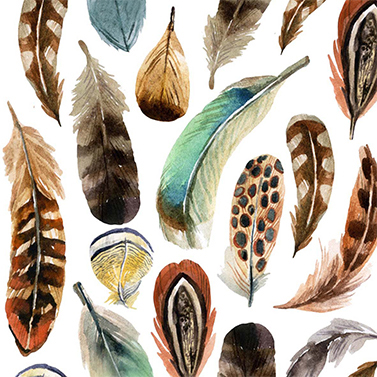 Aquarell Feathers 33x33 cm