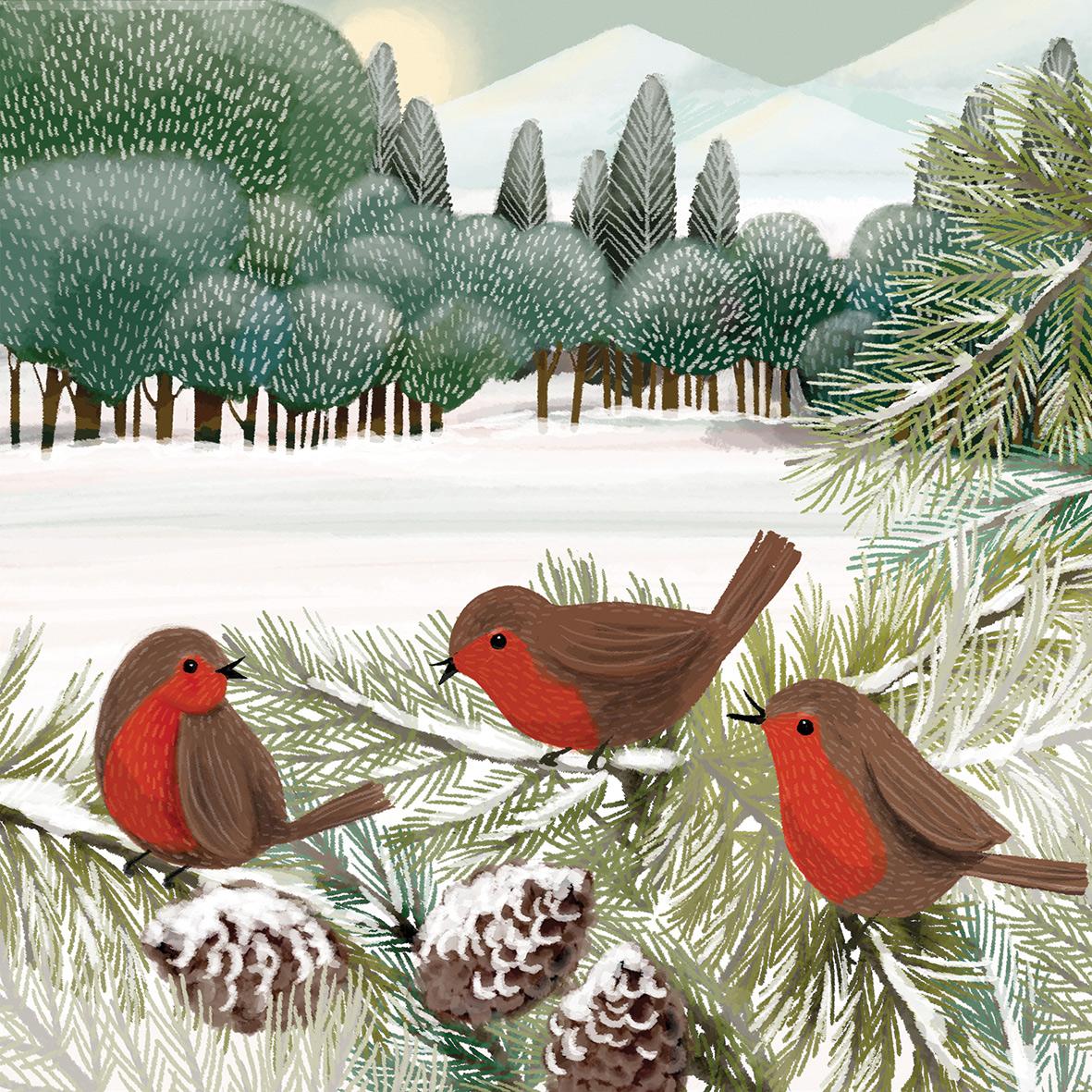 Meadow Birds Napkin 25x25
