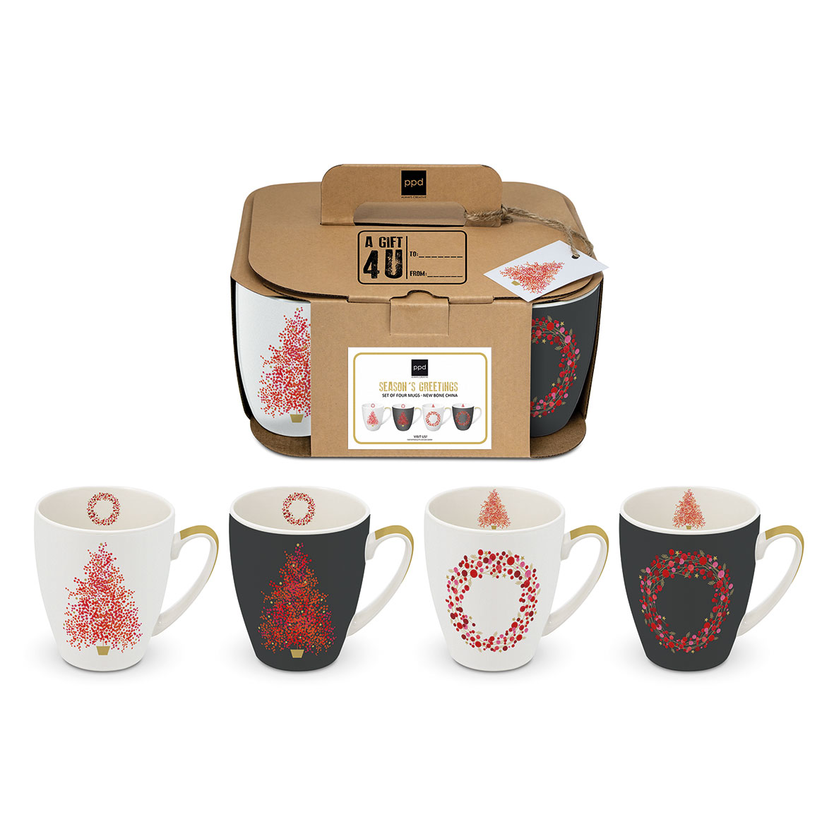 Season´s Greetings 4 Mug Set