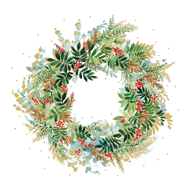 Christmas Hill Wreath Napkin 25x25