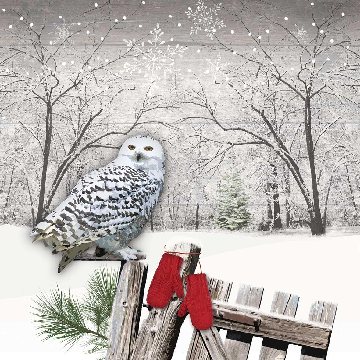 Wintry Owl Napkin 33x33