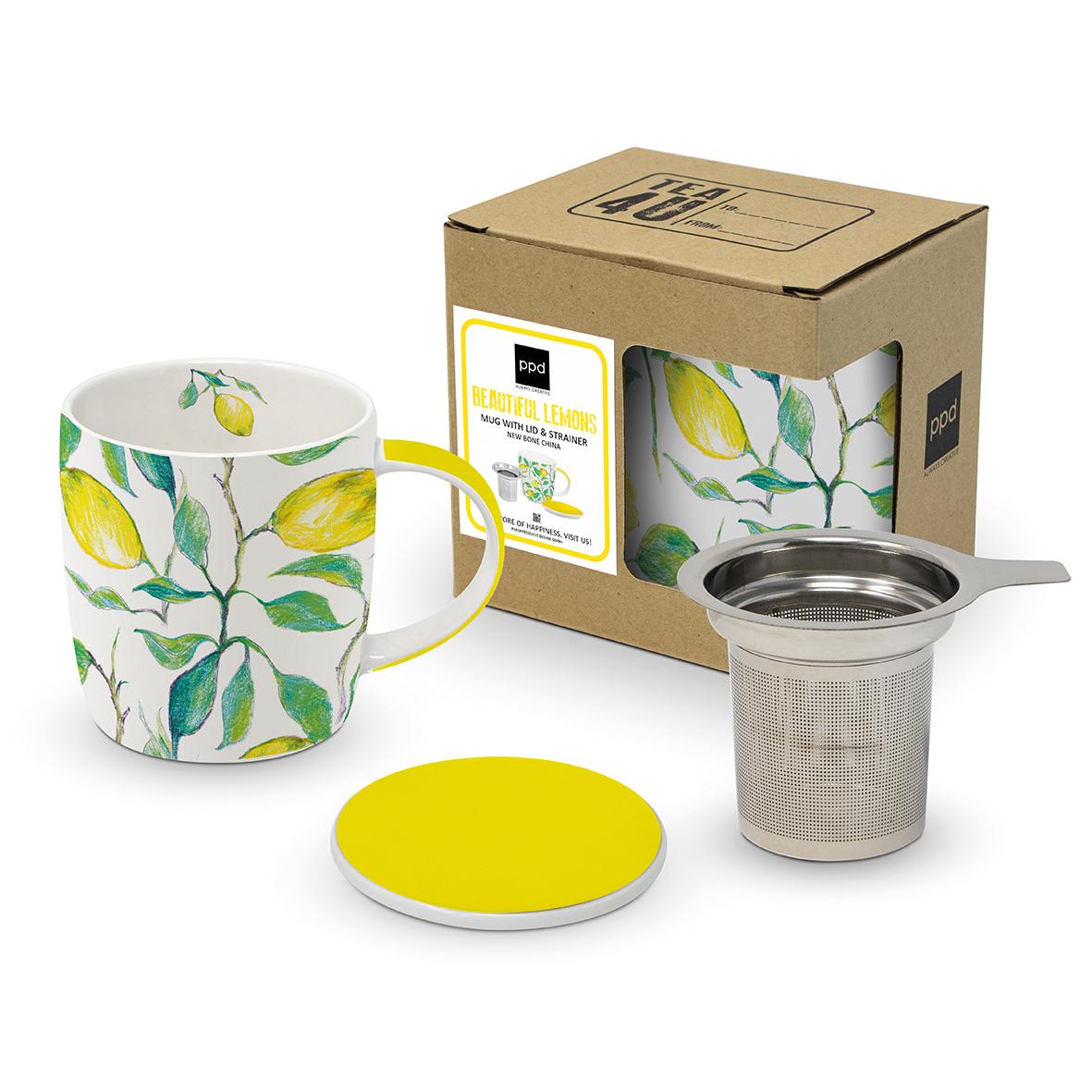 Mug Lid & Strainer CB Beautiful Lemons