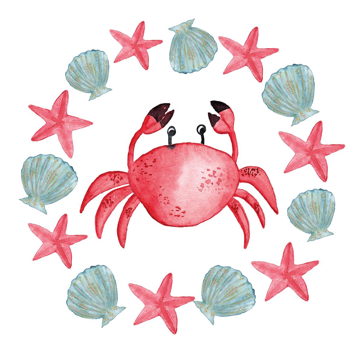 Le Crab 33x33 cm