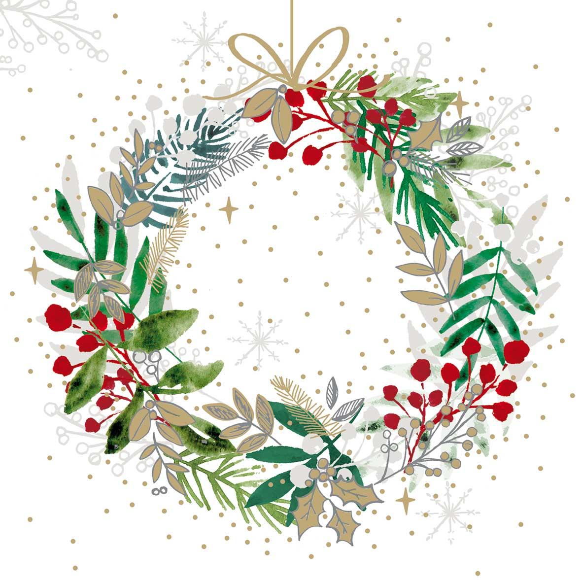 Festive Wreath Napkin 25x25