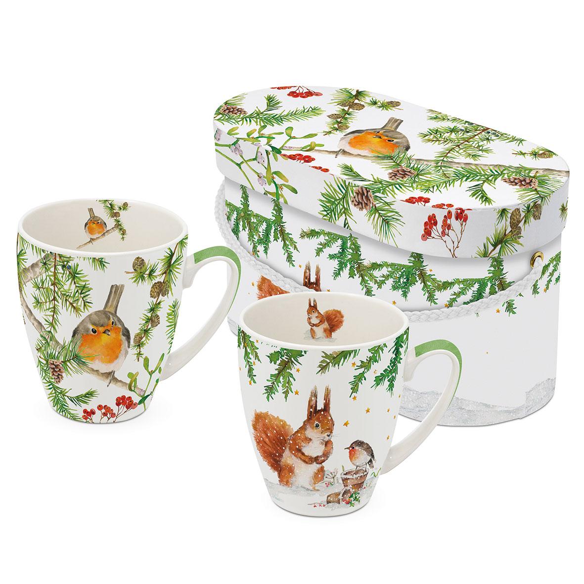 Robin in Tree 2 Mug Set GB