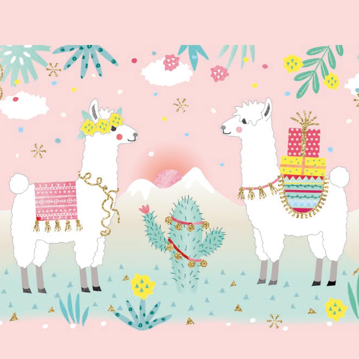 Pastel Llamas 33x33 cm