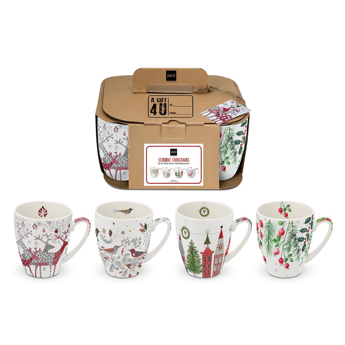 Scandic Christmas 4 Mug Set