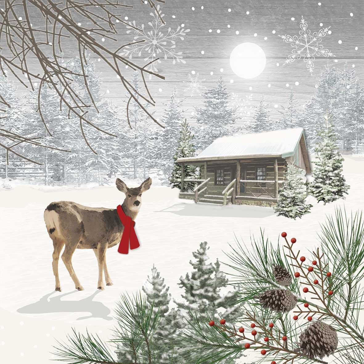 Wintry Deer Napkin 25x25