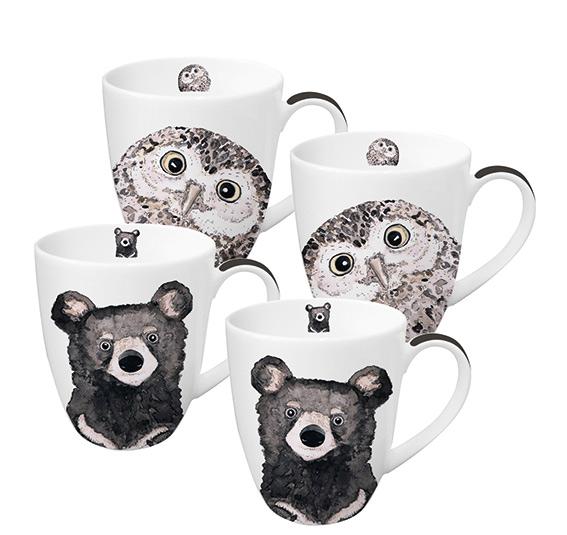 Owl & Bear 4 Mug Set