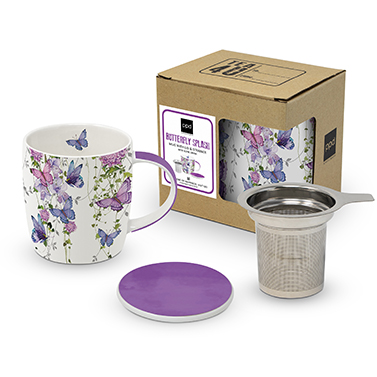 Mug Lid & Strainer cardboard Butterfly Splash