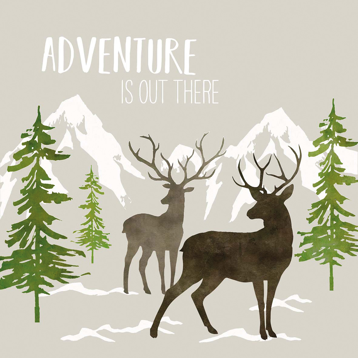 Adventure Deer taupe Napkin 33x33