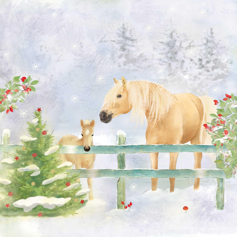 Christmas Horses Napkin 33x33