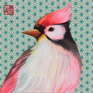 Oiseau Japonais 33x33 cm