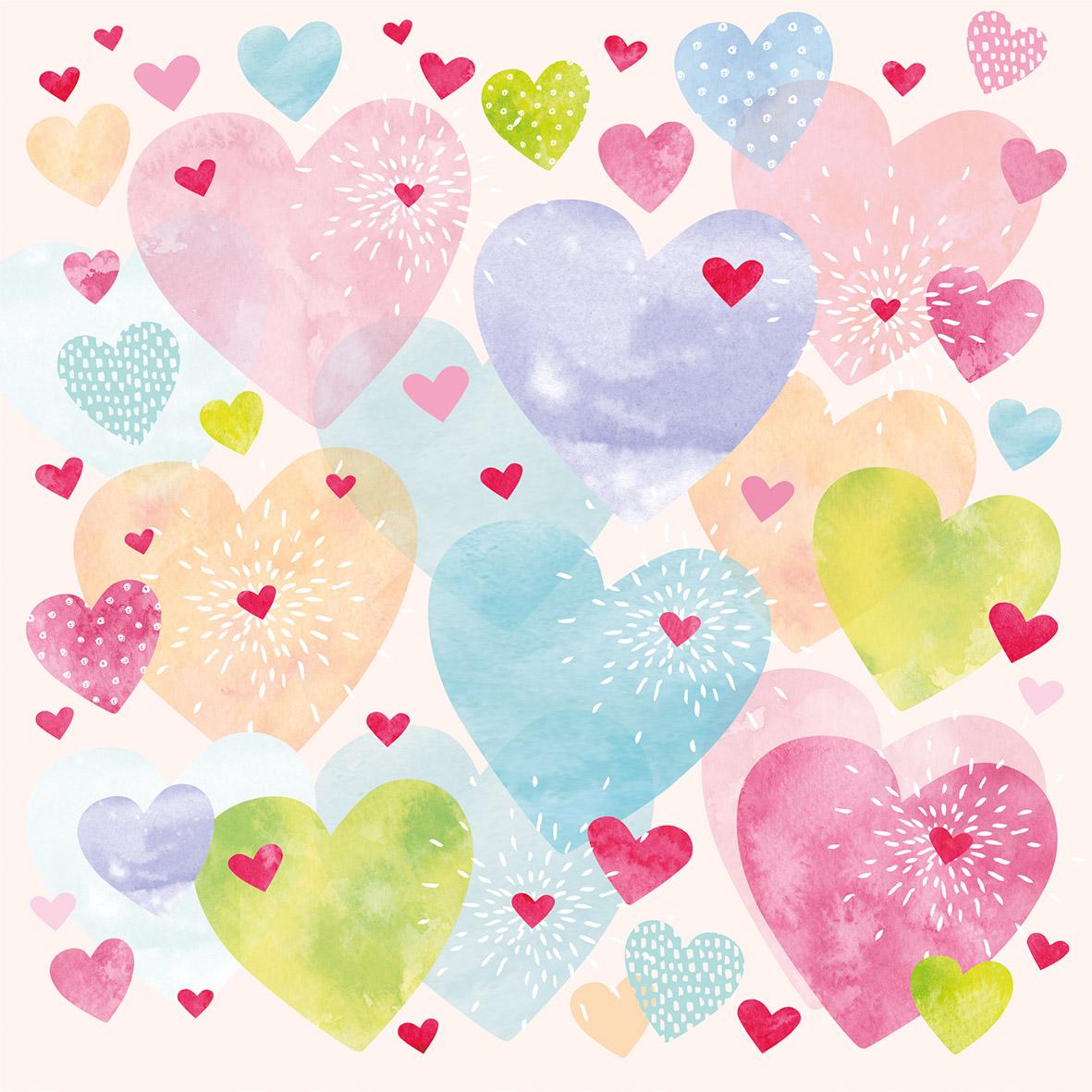 Konfetti Hearts 33x33 cm
